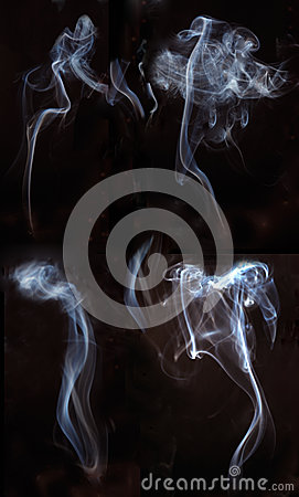 Four Smoke In One Frame Isolated In Black