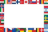 Frame Made Of World Flag Icons   Clipart Graphic