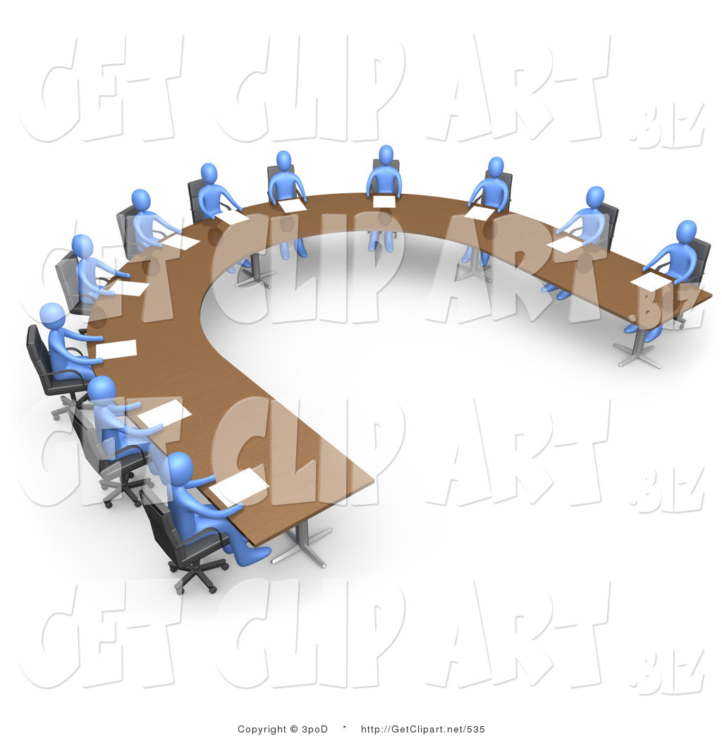 Group Of Blue People Seated And Holding A Business Meeting At A Large