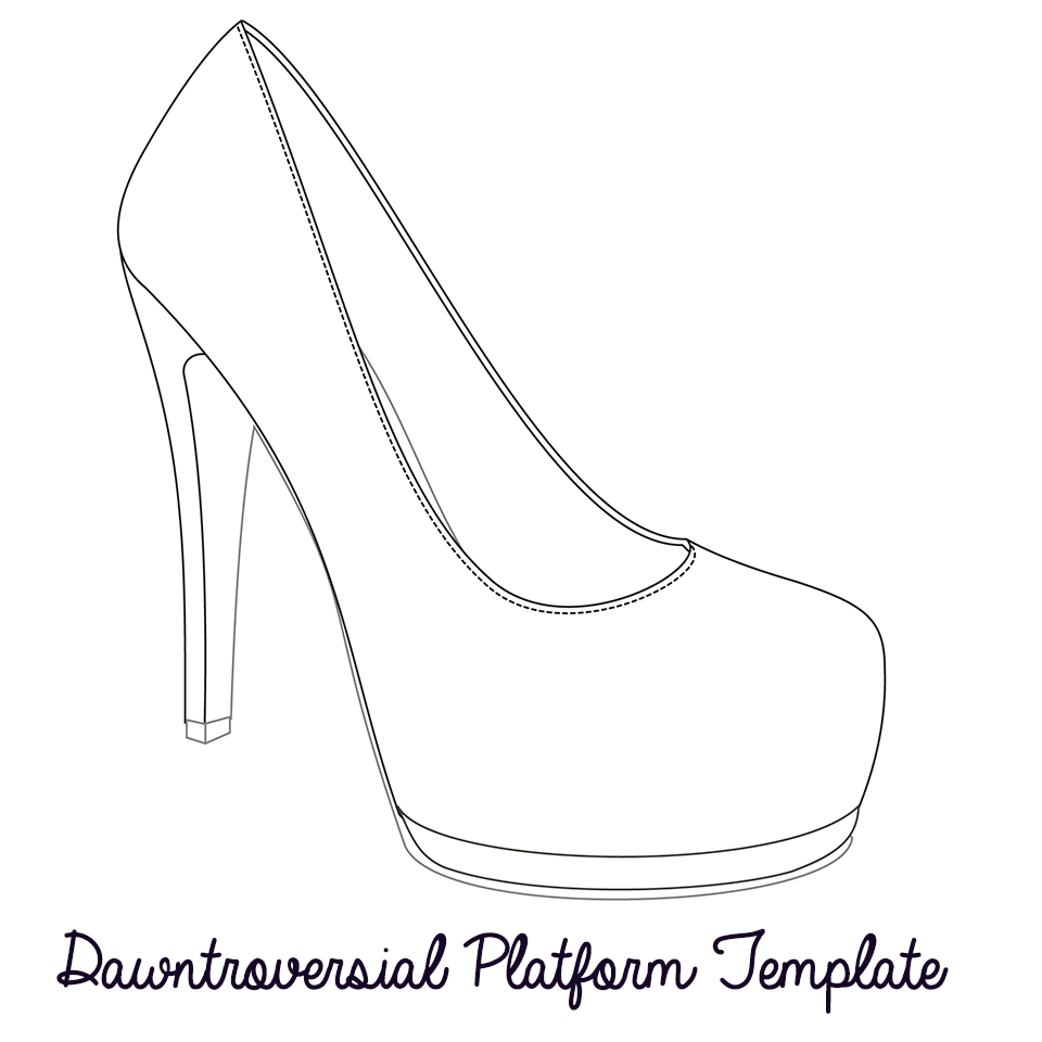 High heel outline clipart clipart suggest for High heel shoe template craft
