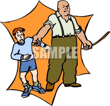 Man Threatening To Abuse A Boy   Royalty Free Clip Art Image