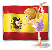 Of The Flag Of Spain At The Back Of A Girl K13320168   Search Clipart