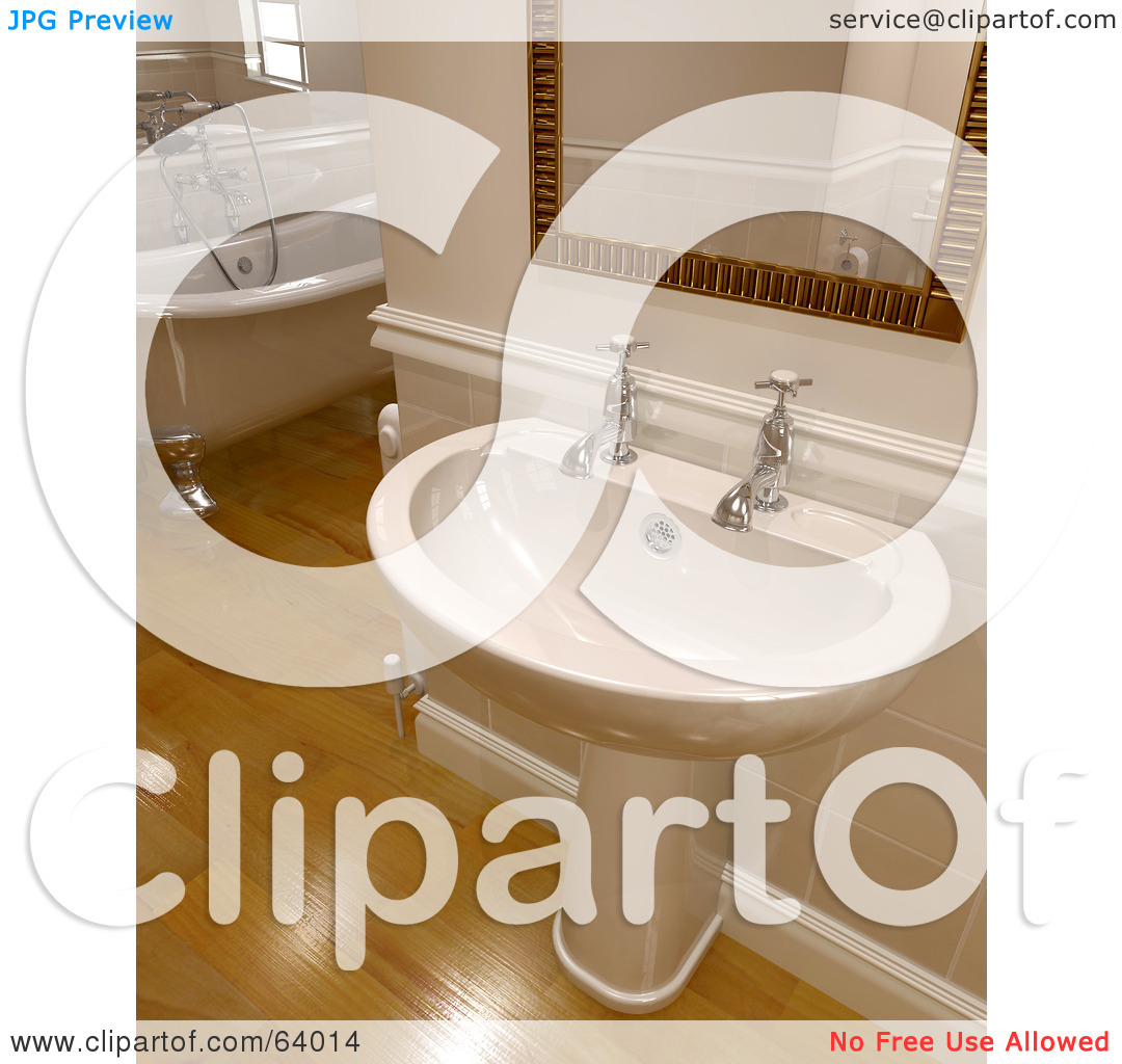 Royalty Free  Rf  Clipart Illustration Of A Hand Washing Sink Under A