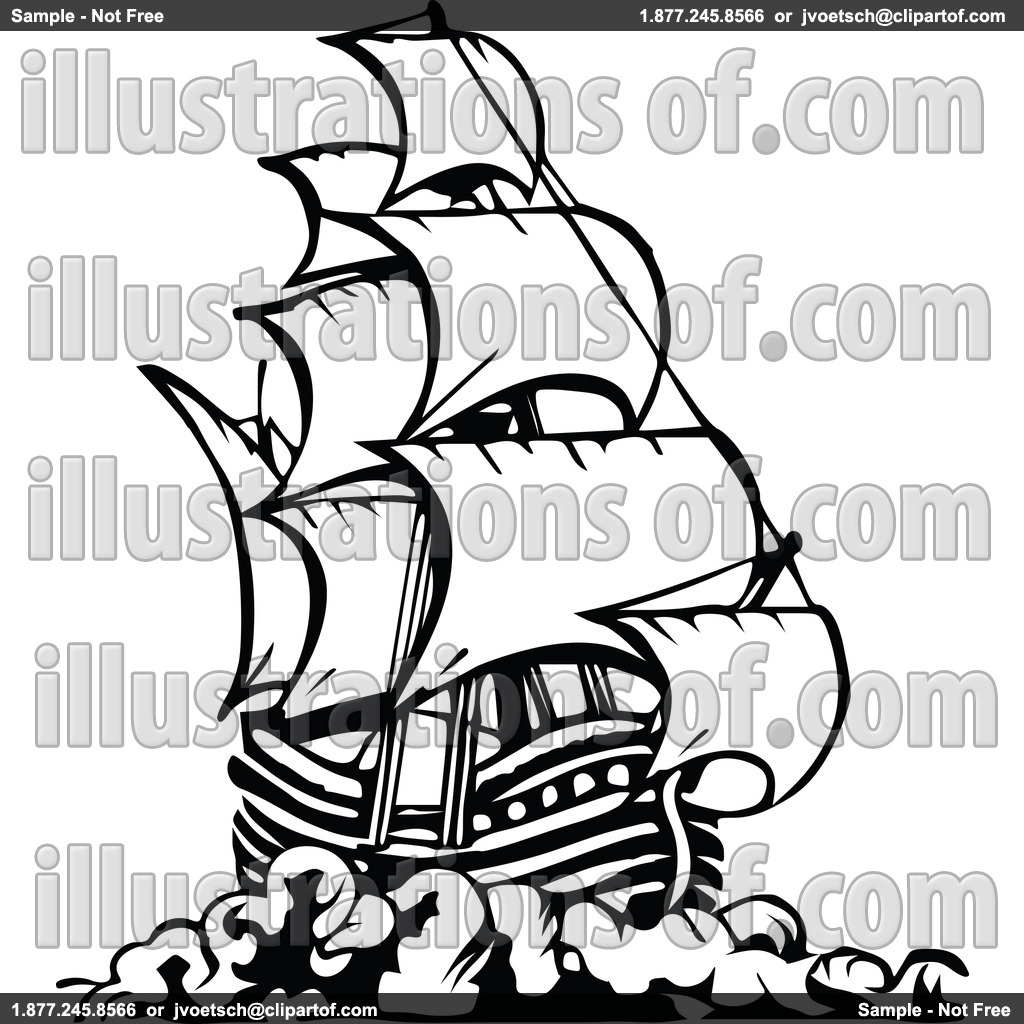 Pirate Ship Black And White Clipart - Clipart Kid