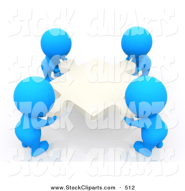 3d Clip Art Of 3d Teeny People Moving Puzzle Pieces To Form A Square