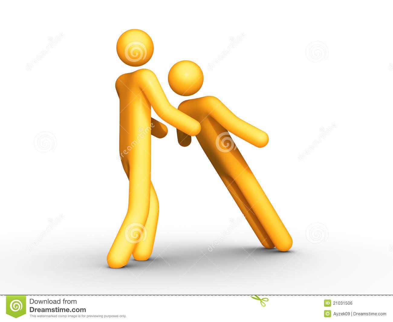3d Rendered Stick Figure Trusting Teammates