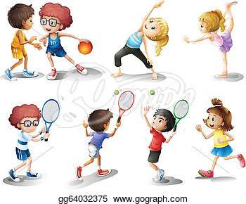 And Playing Different Sports  Vector Clipart Gg64032375   Gograph