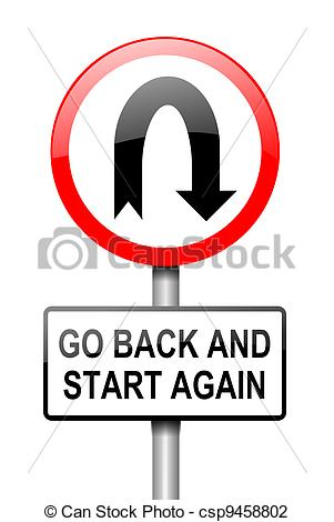 Clip Art Of Start Again   Illustration Depicting A Red And White Road