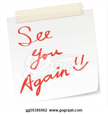 Clip Art Vector   See You Again Message On A Paper Note In