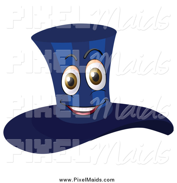 Clipart Of A Happy Dark Blue Top Hat Mascot By Colematt    135062