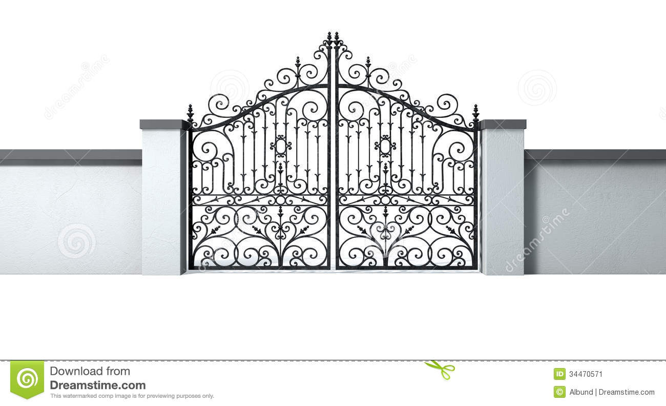 Closed Ornate Gates And Wall Stock Image   Image  34470571
