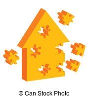 Colorful Jigsaw Puzzle House Vector Background Stock Illustration