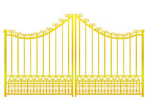 Isolated Closed Golden Gate Fence On White Vector Royalty Free Stock