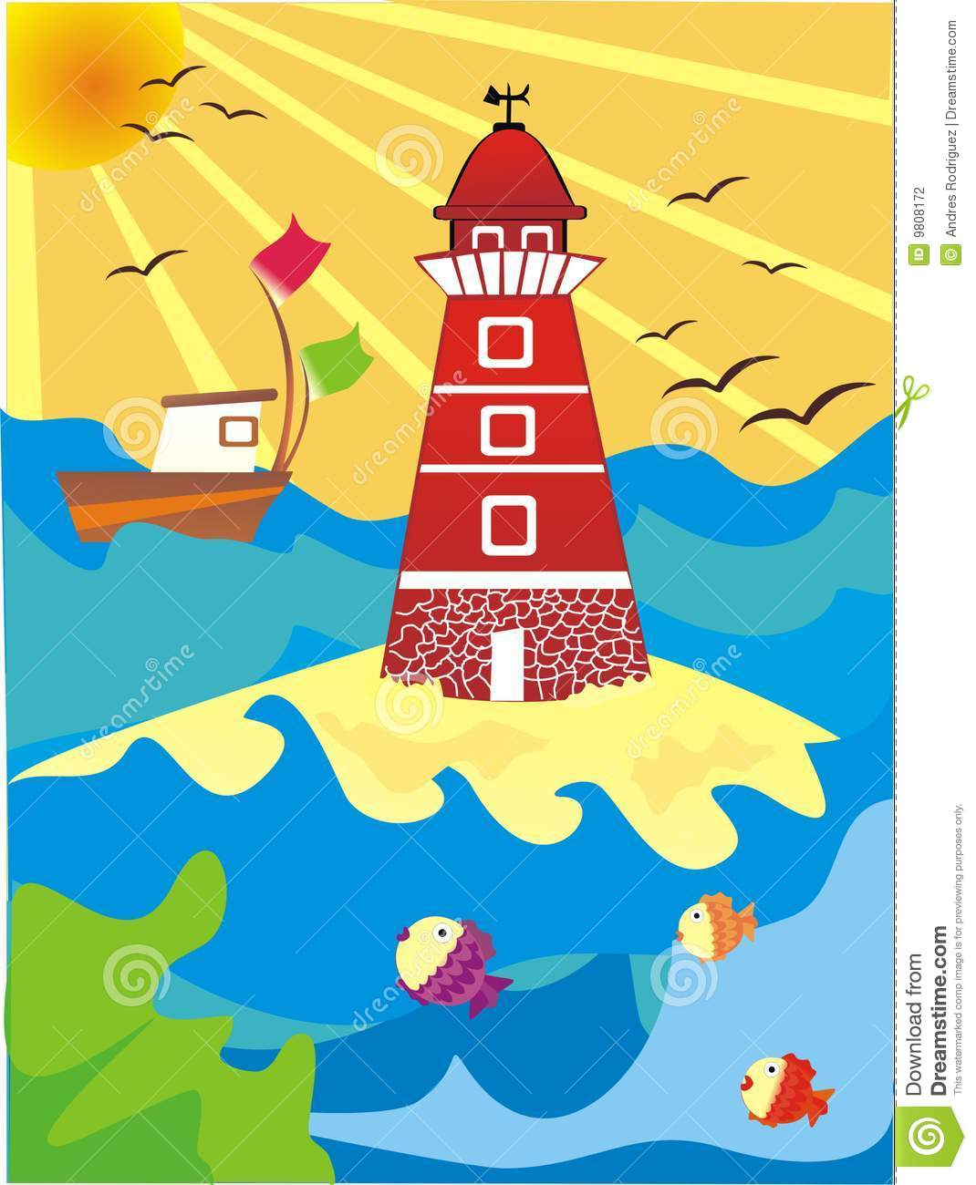 Lighthouse Illustration Stock Photography   Image  9808172