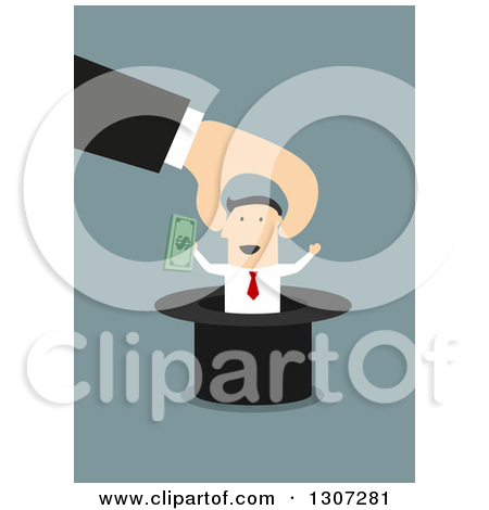 Of A Hand Pulling A Businessman With Cash Out Of A Top Hat On Blue
