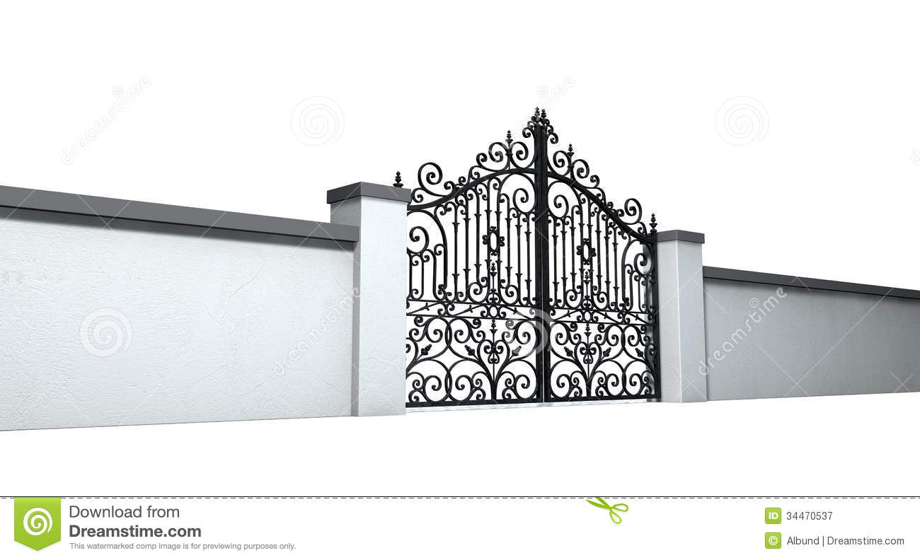 Pearly Gates Of Heaven Clipart Closed Ornate Gates And Wall
