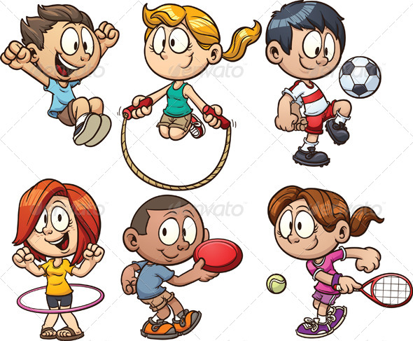 Play Sports Cartoon Kids Playing Clipart