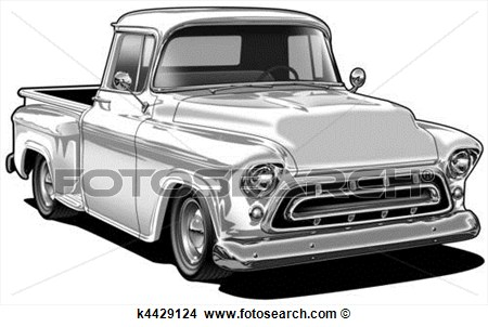57 Chevy Pick Up View Large Illustration