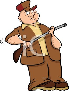 Cartoon Of A Hunter Holding A Rifle   Royalty Free Clip Art Picture