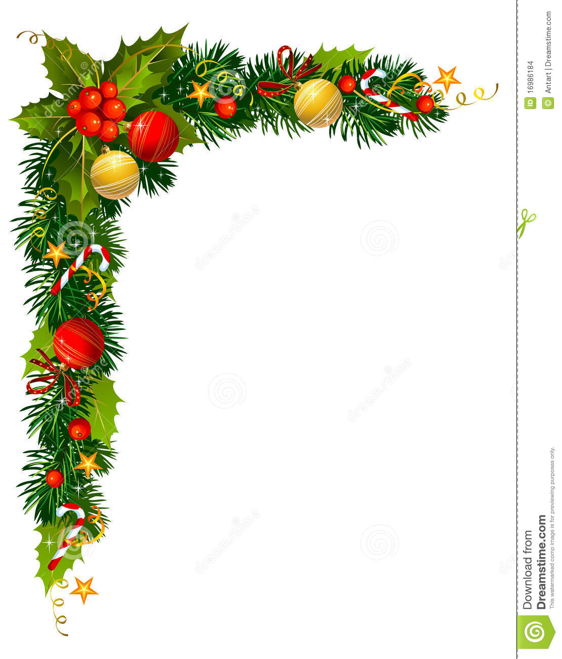 Christmas Corner Borders Clip Art Christmas Holly Branch In The