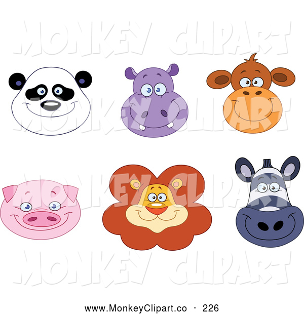 Clip Art Of Smiling Exotic Animal Faces   Panda Hippo Monkey Pig