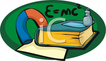 Clipart Of A E Mc  With A Physics Book