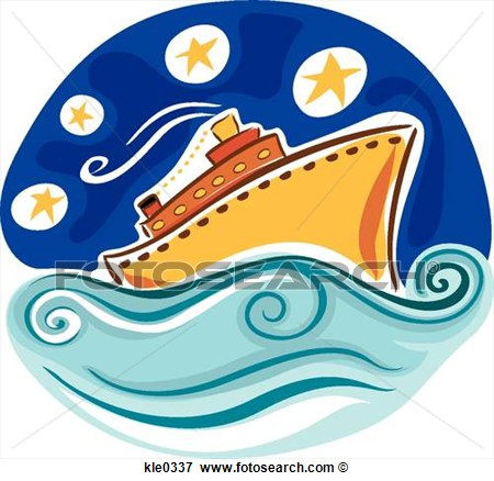 Cruise Ship In The Ocean At Night  Fotosearch   Search Eps Clipart