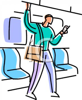 Guy Riding The Subway   Royalty Free Clip Art Picture