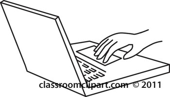 Hand On Laptop Computer Keyboard Outline   Classroom Clipart