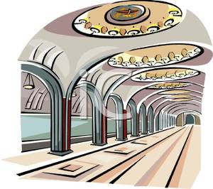 Inside A Subway Station   Royalty Free Clipart Picture