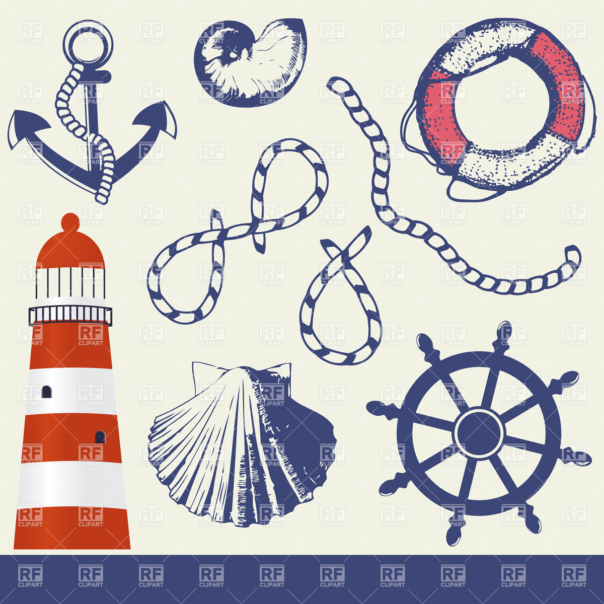 Marine Elements Set 24602 Download Royalty Free Vector Clipart  Eps