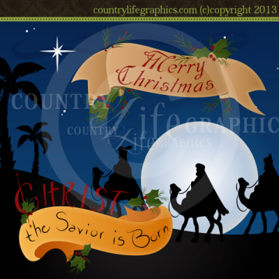 Savior Is Born   Winter Clipart   Country Life Graphics