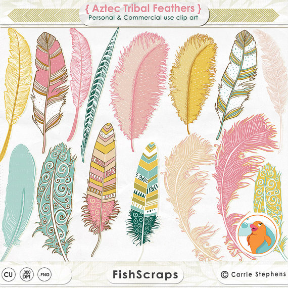 Aztec Feather Clipart Hand Drawn Tribal Clip Art Girl Graphics Pink
