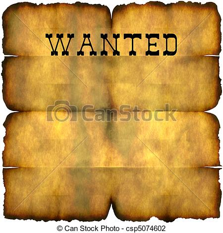 Clip Art Of Wanted Poster An Empty Wanted Poster With Copy Space