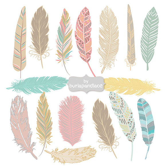 Hand Drawn Feather Aztec Clip Art   Illustrations On Creative Market