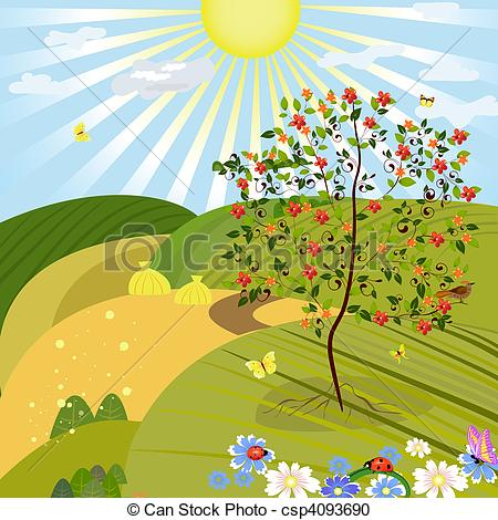 Outdoors Background Clip Art Vector   Tree In An Outdoor