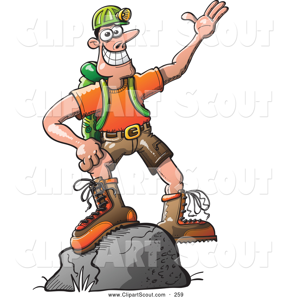 Outdoors Man Standing On A Boulder Scout Clip Art Zooco