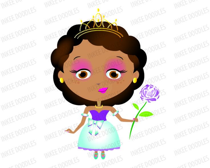 Princess Girl African American With Dark Black Hair Wearing Gold Tiara