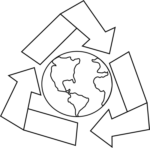 Black And White Earth With Recycle Symbol Clip Art   Black And White