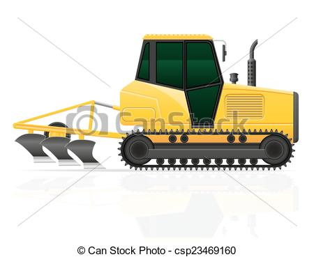 Clip Art Vector Of Caterpillar Tractor With Plow Vector Illustration