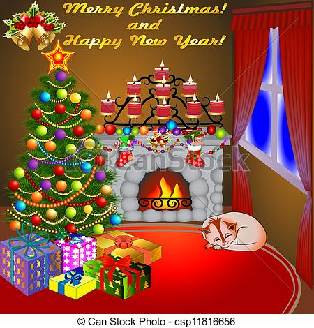 Clipart Vector Of Of Christmas Fireplace With A Tree Gifts Candles And