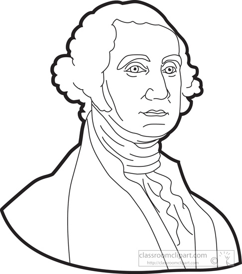 President George Washington Outline Clipart   Classroom Clipart