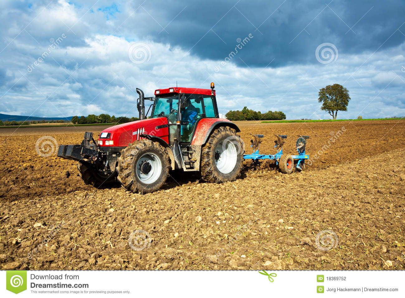 Tractor With Plow On Field Stock Photography   Image  18369752