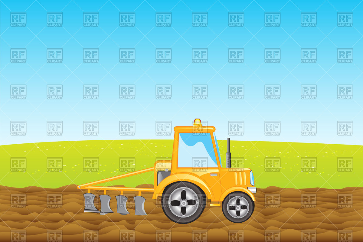 Tractor With Plow Plows Land In Field 93890 Transportation Download