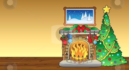 With Fireplace 1 Stock Vector Clipart Christmas Card With Fireplace