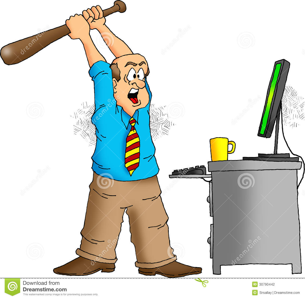 Angry Computer User About To Destroy His Computer With A Baseball Bat
