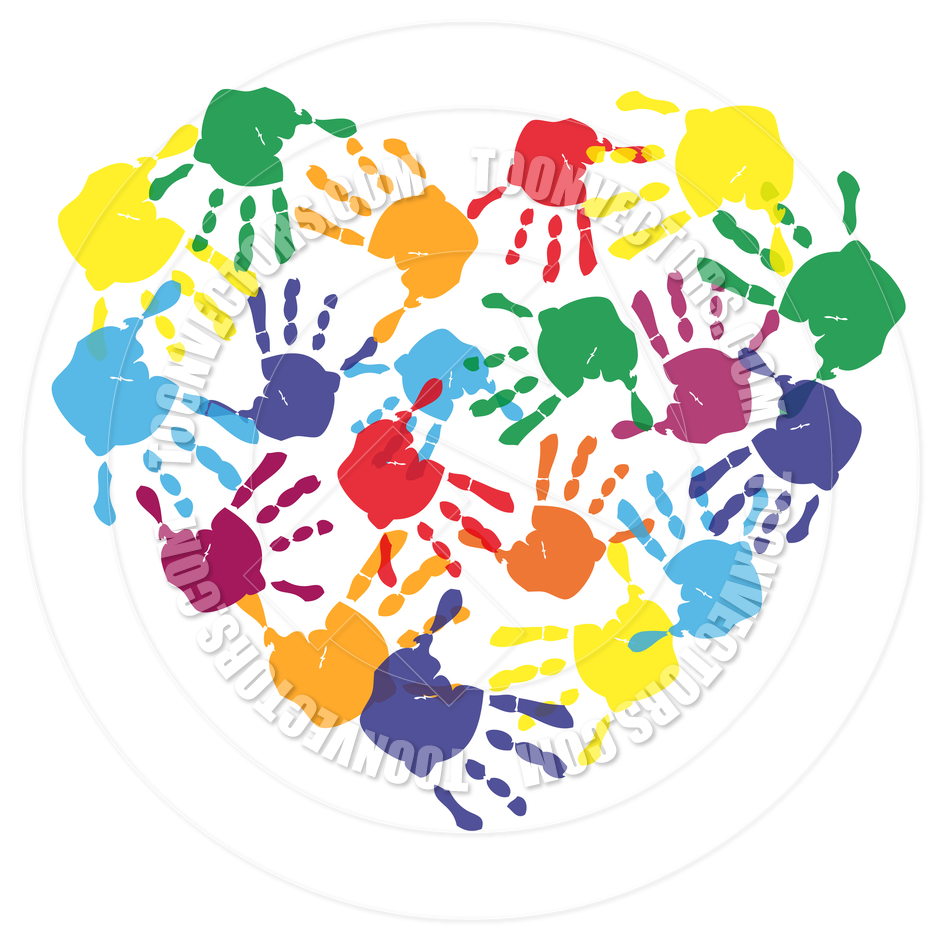 Children Handprints Clipart Colorful Child Hand Prints In