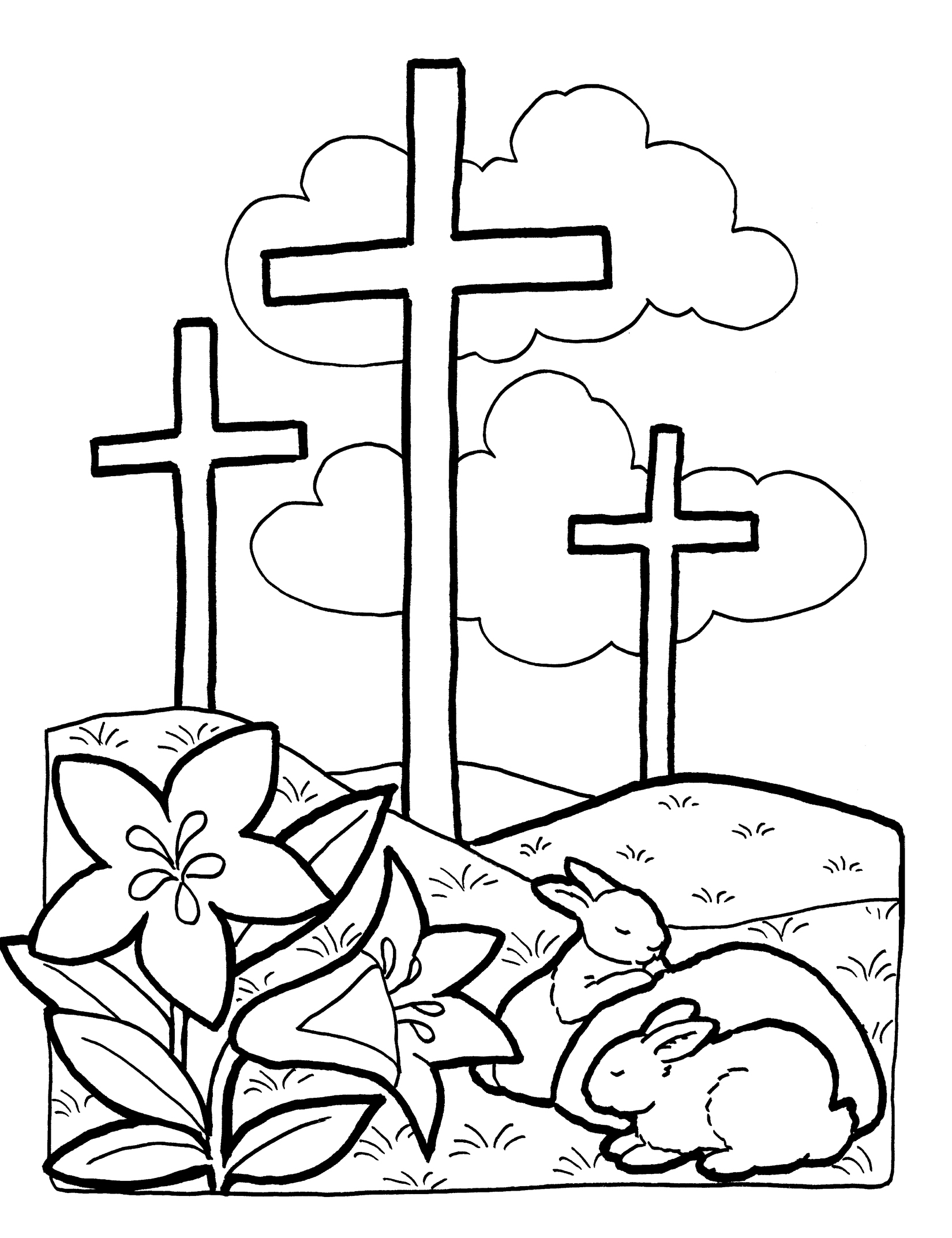 Easter Cross Black And White Clipart - Clipart Kid