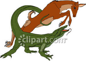 Komodo Dragon About To Destroy A Deer   Royalty Free Clipart Picture