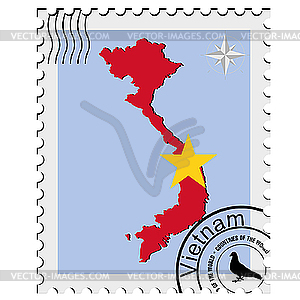 Stamp With The Image Maps Of Vietnam   Vector Clipart